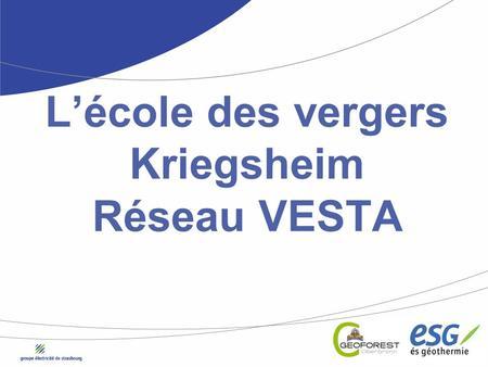 Lécole des vergers Kriegsheim Réseau VESTA. 2 Les intervenants > Maîtrise dœuvre sous-sol > Expertise process > Outils de modélisation du sous-sol > Suivi.