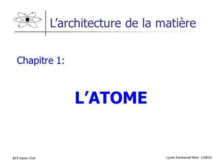 Lycée Emmanuel Héré - LAXOU ATS Génie Civil Larchitecture de la matière Chapitre 1: LATOME.