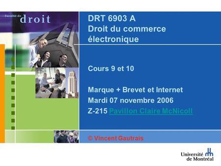 DRT 6903 A Droit du commerce électronique Cours 9 et 10 Marque + Brevet et Internet Mardi 07 novembre 2006 Z-215 Pavillon Claire McNicollPavillon Claire.