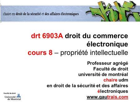 Drt 6903A droit du commerce électronique cours 8 – propriété intellectuelle Professeur agrégé Faculté de droit université de montréal chaire udm en droit.