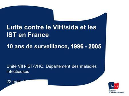 Lutte contre le VIH/sida et les IST en France 1996 - 2005 10 ans de surveillance, 1996 - 2005 Unité VIH-IST-VHC, Département des maladies infectieuses.