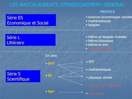 LES BACCALAUREATS DENSEIGNEMENT GENERAL Série ES Economique et Social Série L Littéraire Série S Scientifique En 1ère SVT SI Agri SVT mathématiques physique.