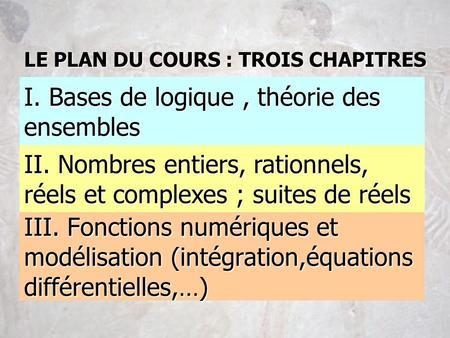 III. Fonctions numériques et modélisation (intégration,équations différentielles,…) II. Nombres entiers, rationnels, réels et complexes ; suites de réels.