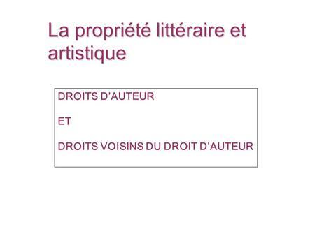 La propriété littéraire et artistique DROITS DAUTEUR ET DROITS VOISINS DU DROIT DAUTEUR.