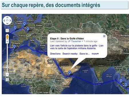 Sur chaque repère, des documents intégrés. Avec Google Earth (cartes en superposition)