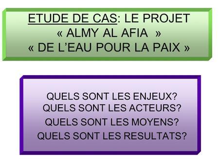 ETUDE DE CAS: LE PROJET « ALMY AL AFIA » « DE LEAU POUR LA PAIX » QUELS SONT LES ENJEUX? QUELS SONT LES ACTEURS? QUELS SONT LES MOYENS? QUELS SONT LES.