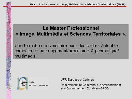 Master Professionnel « Image, Multimédia et Sciences Territoriales » (IMST) UFR Espaces et Cultures Département de Géographie, dAménagement et dEnvironnement.