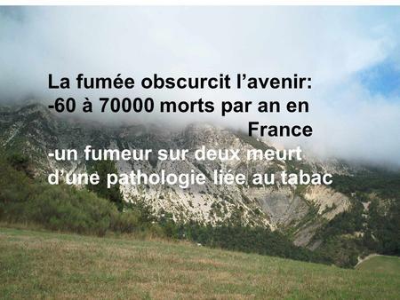 La fumée obscurcit lavenir: -60 à 70000 morts par an en France -un fumeur sur deux meurt dune pathologie liée au tabac.